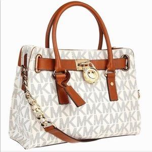 Michael Kors signature canvas & brown leather tote
